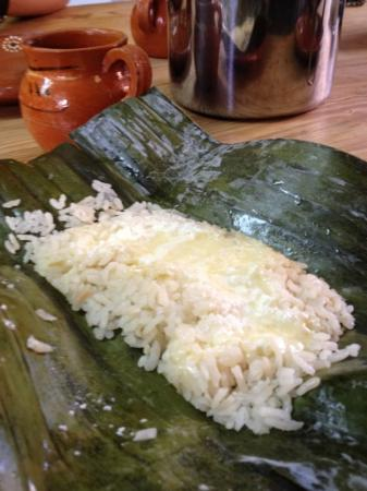 Marilau, Mexican Ancestry Cooking School : rice Tamal w/melted cheese