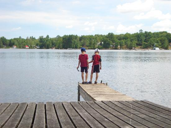 Gravenhurst, Canada: Watching fish at the end of the dock