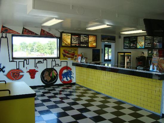 Bugsy's Chicago Dogs: Counter area.