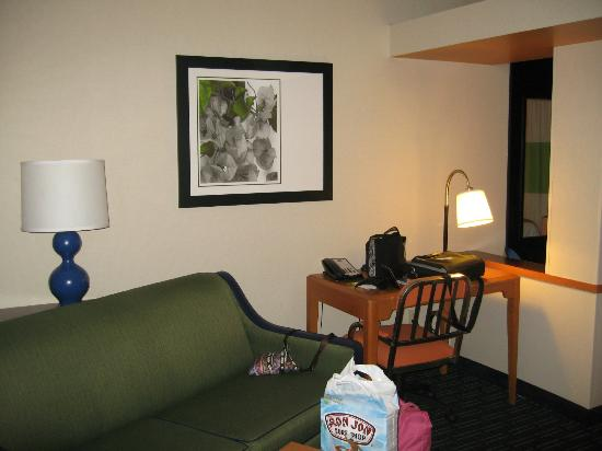 Fairfield Inn & Suites Pittsburgh New Stanton: Living Area with Sofa Bed, Table and Desk with Internet Access