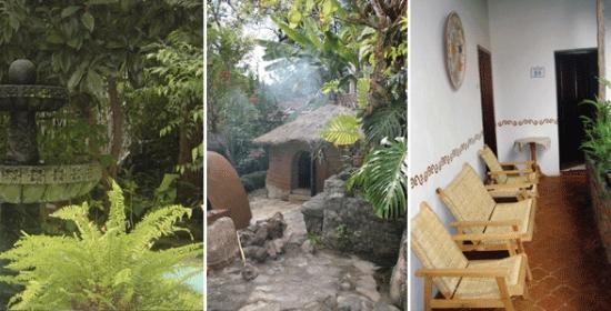 Hotel La Casona Breakfast & Wellness Center: Temazcal, fuente, corredores de la Casona