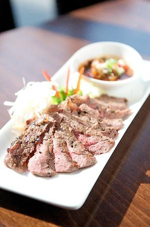 Chaam : chargrilled rib eye steak with tangy cracked rice dip