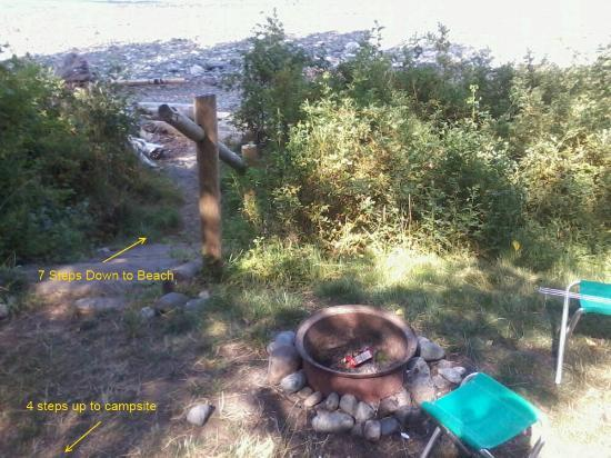 Bates Beach Oceanfront Resort: Fire Pits not on same level as campsite - not good for cooking