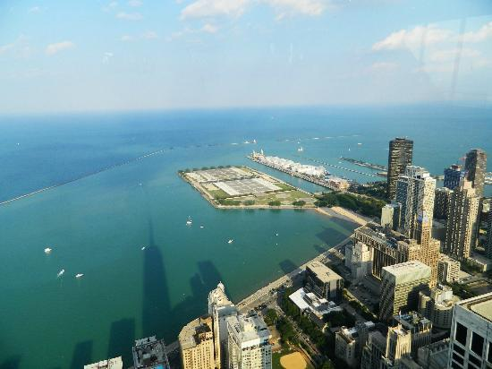 360 Chicago Observation Deck: Shadow of the Hancock tower over the lake Michigan