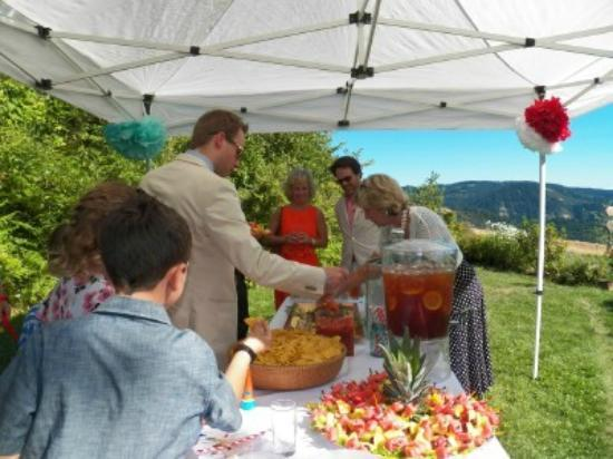 Husum Highlands Bed and Breakfast : Wedding guests enjoy socializing after the wedding ceremony