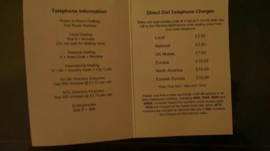 Highlands Hotel at Macdonald Aviemore Resort: Call charges