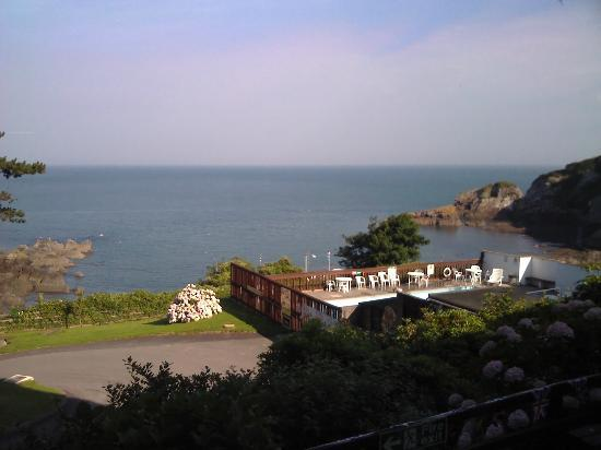 Combe Martin Beach Holiday Park: View from the bar area (out to sea and the swimming pool)