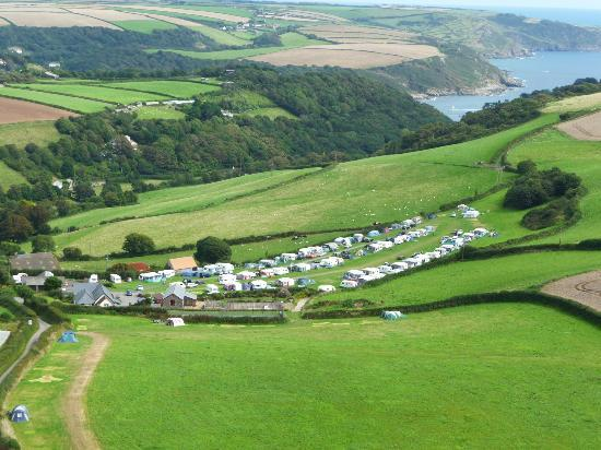 Higher Rew Caravan and Camping Park: View to the sea from above the park