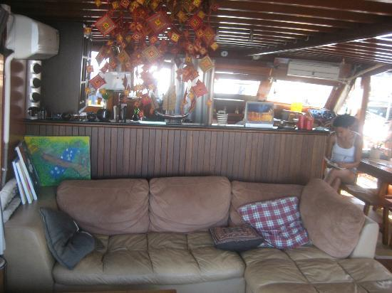 Life on a boat - Moksha: The main living space in case you want to leave the bedroom and relax