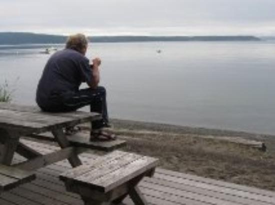 Beach Haven Resort: A relaxing morning at Beach Haven, looking west toward B.C., Canada.