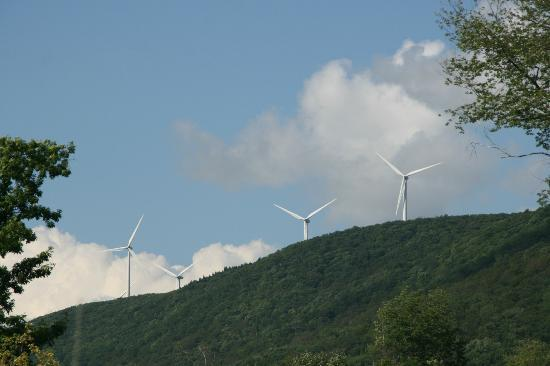 Vacation Village in the Berkshires: the wind turbines that can be seen from this resort