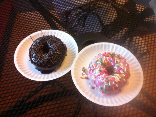 Duck Donuts: Cake donut with chocolate icing and chocolate sprinkles, and strawberry icing/rainbow sprinkles