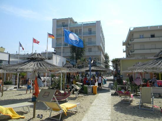 Hotel Igea Spiaggia : Silvia e famiglia Foto dell'hotel visto dalla Grande Spiaggia