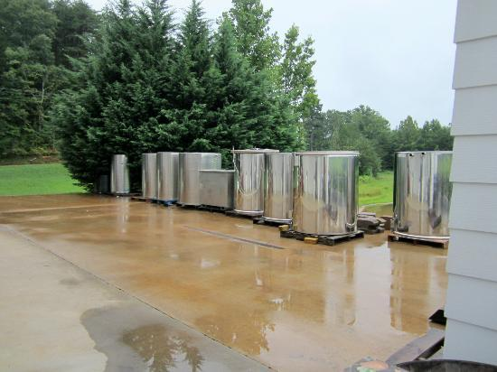Three Sisters Vineyards & Winery: Stainless Steel Wine Vats On The Patio