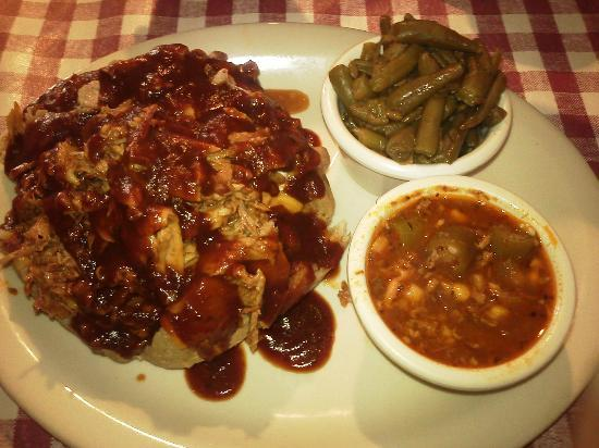 Miller Brothers Rib Shack: BBQ Tater, Country green beans, Brunswick stew