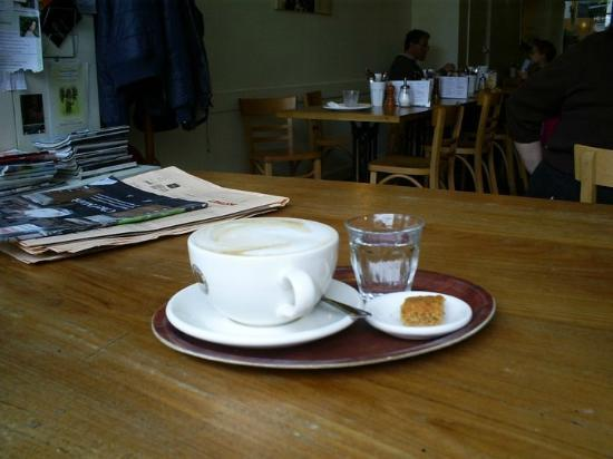 Crunch: Coffee, cake and water on the large table at the front