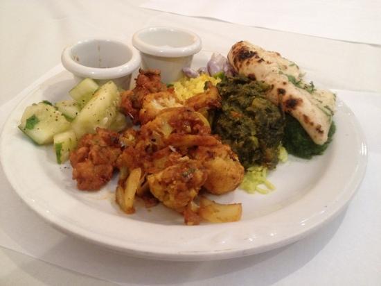 India Garden: cucumber salad, cauliflower, spinach, garlic naan.