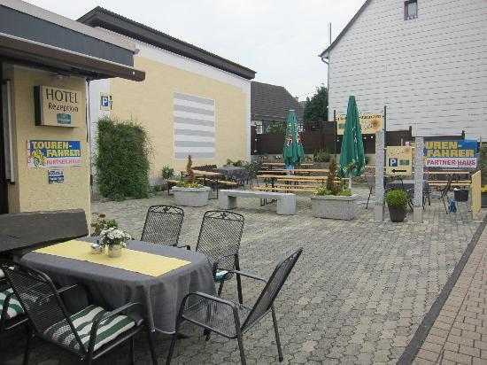 """Hotel Hüllen: Too cold to enjoy the """"beer garden"""""""