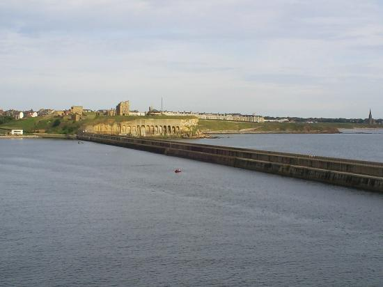 Long Sands Beach: Tynemouth beaches and priory from the mouth of the tyne on a ferry