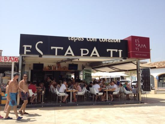 Es tapa ti: view of restaurant from the beach
