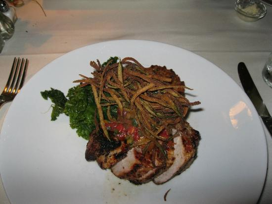 Oxford House Inn: Tequila lime pork roast with kale and fried zuchinni