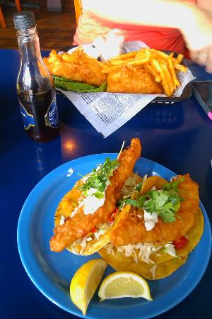 Blue Water Bar & Grill: Fish Tacos and Fish n' Chips