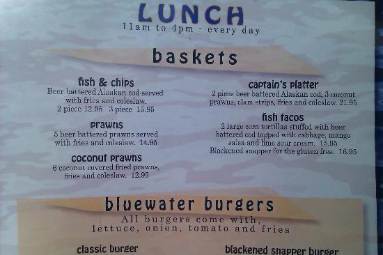 Blue Water Bar & Grill: Lunch Baskets