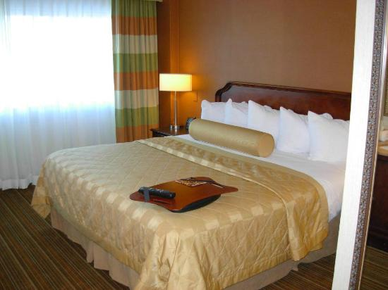 Embassy Suites by Hilton Parsippany : Bed with glossy spread