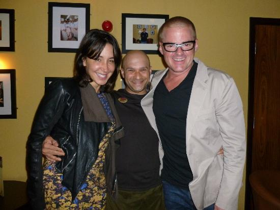 Asha's Indian Resturant and Bar : Celebrity Chef Heston Blumenthal and girlfriend Suzanne Pirret with Asha's server Sachin Tilak