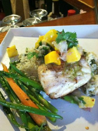 The Parker House Inn and Restaurant : Seard Red Snapper with Basmati Basil Rice, Mango, Lime and Cilantro from the Kitchen Garden