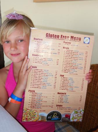 Restaurante El Pato: gluten free menu