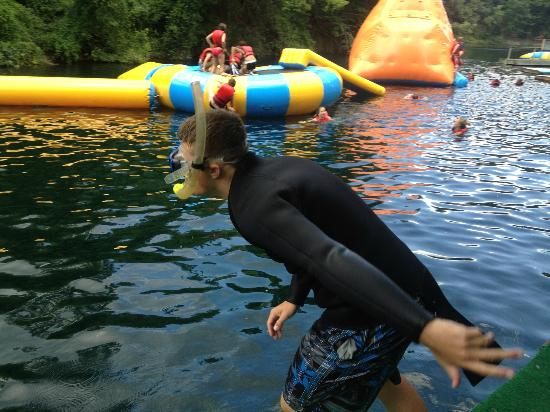 Guppy Gulch Quarry: Preparing for entry while others have fun in waterpark.