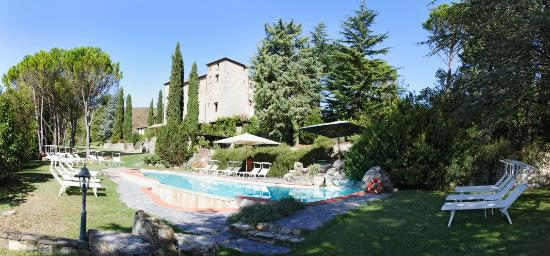 Castello di Spaltenna Exclusive Tuscan Resort & Spa: the castle from the swimming pool