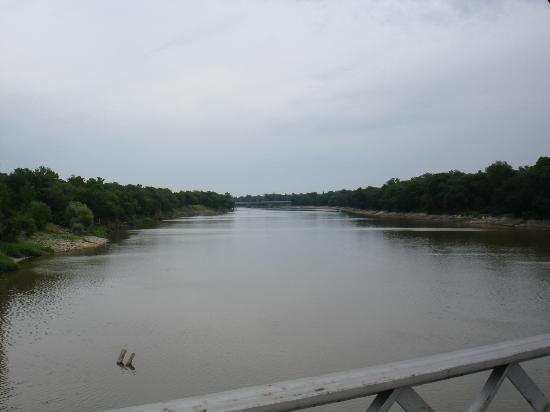 Bridge Drive-In: Looking west along the Assiniboine from the bridge that gives the BDI its name