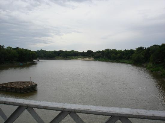 Bridge Drive-In: Looking east along the Assiniboine from the bridge that gives the BDI its name