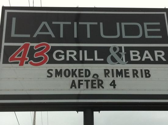 Latitude 43: the sign of good food..