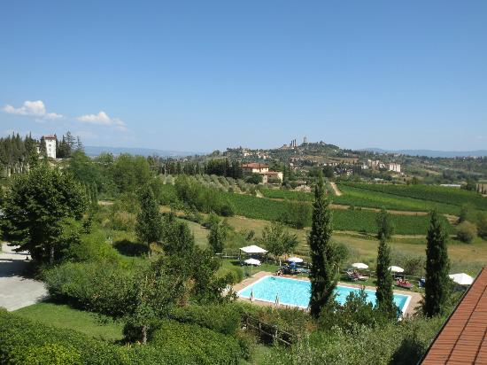 Villa Ducci: view of hotel pool and SG from hotel
