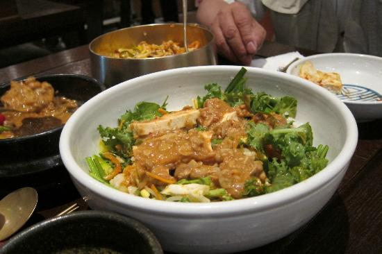 Gogung Insadong: Tofu with Green Salad with bean sauce