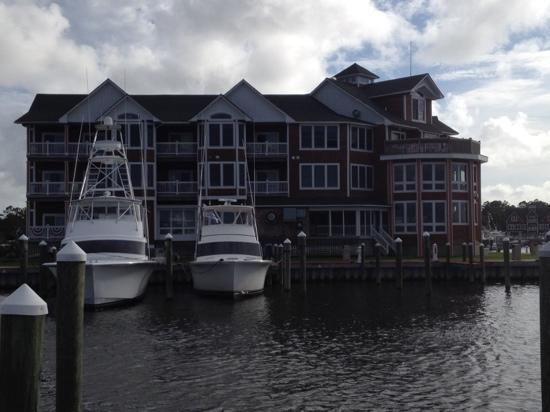 Rear view of Stripers Bar and Grille from docks. Restaurant is on far right of building. All t