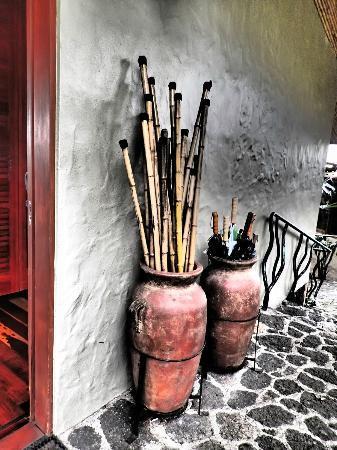 Finca Rosa Blanca Coffee Plantation Resort: Walking sticks and umbrellas!  Never a good sign!!! :)