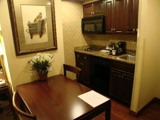 Homewood Suites by Hilton Albuquerque Airport: 2 burner stove, microwave, full size refrigerator in kitchen