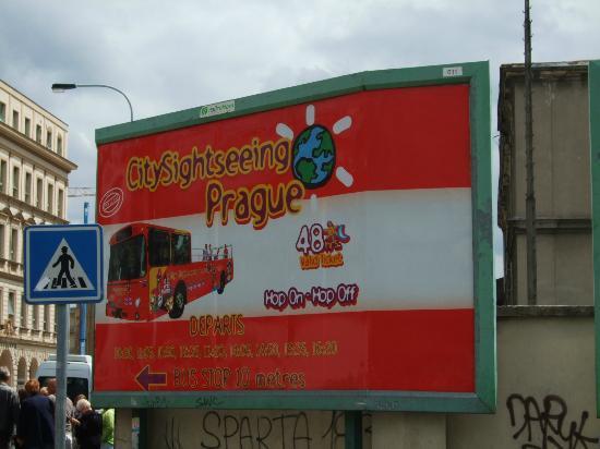 City Sightseeing  Prague : signage next to the tour bus