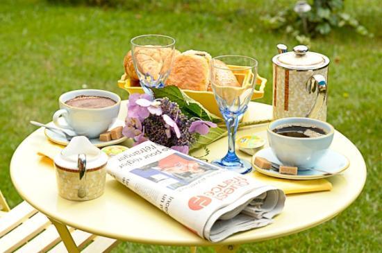Bed and Breakfast Joliot Curie: petit dejeuner jardin