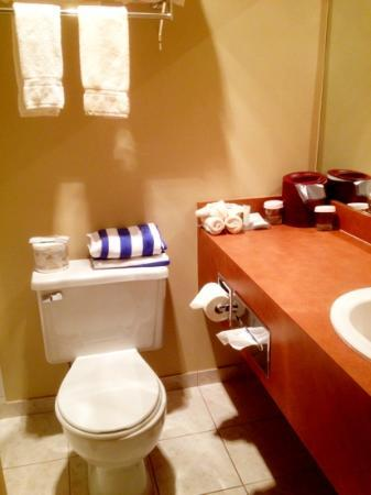 Blue Oyster Restaurant: The Anchor Inn bathroom. Towels are for the pool.