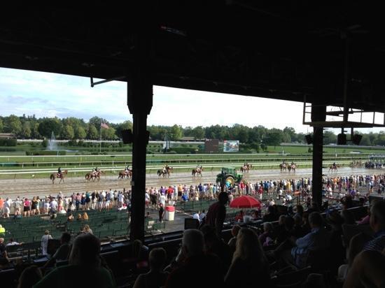 Saratoga Casino Hotel: wet day at Saratoga. (bet on the outside horses on muddy tracks)