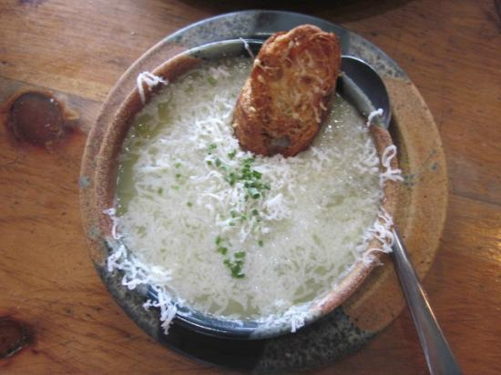 Apple Annie's Cafe: Potato & Leak Soup with Melted Cheese