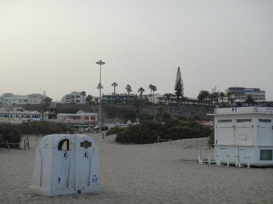 Tabaibas: Blick vom Strand auf die Anlage hinter den Palmen