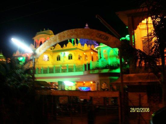 ISKCON Rajahmundry, Sri Sri Radha Gopinath Temple:                   ILLUMINATED TEMPLE FROM FRONT SIDE