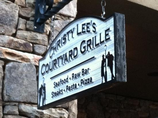 Christy Lee's Courtyard Grille: sign outside restaurant.