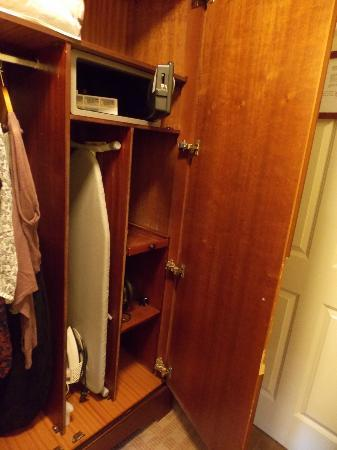 The Castlecourt Hotel: Wardrobe, with iron, ironing board and safe